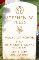 Vietnam War Congressional Medal of Honor Recipient Major Stephen W. Pless, USMC Gravestone at Barrancas National Cemetery - Pensacola, Florida, This cemetery dates to the 1820's. Originally a small cemetery of the marine hospital near the Pensacola Navy Yard. Marine hospitals served the merchant fleets at major seaports. Army and Navy cemeteries operated separately prior to establishment of National Cemetery in 1868 by agreement of Secretary of War and Secretary of Navy by direction of Congress to assure proper curial of civil war casualties. There are three recipients of the Medal of Honor buried at this national shrine. Army SSgt Clifford C. Sims' grave is located on the slope of Section 29, north of the maintenance building. Marine Corps Major Steven W. Pless's grave is located in Section 21 across from the Marine Memorial Monument. Navy Lieutenant Clyde E Lassen's grave is located in Section 38. These men were cited for conspicuous gallantry and intrepidity in action at the risk of his life above and beyond the call of duty, during the Vietnam War. Sgt Sims was an Airborne Infantry squad leader who sacrificed his life to protect his men from the blast of a boobytrap. Major Pless was a Helicopter Gunship Pilot who rescued four stranded and wounded soldiers who were being overwhelmed by a large Viet Cong force, by flying through intense enemy fire. Lieutenant Lassen was a pilot of a Search and Rescue helicopter operating against enemy forces in North Vietnam. He effected the rescue of two downed aviators by his courageous and daring actions, determination, and extraordinary airmanship in the face of great risk and intensified enemy opposition.